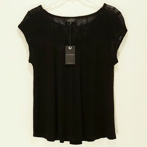 Lucky Brand Black Linen Lace Top S/Sleeve Blouse